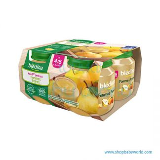BLEDINA Baby Food Pear Apple Jar 4/6M+ 4X130G (6)