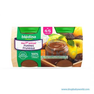 BLEDINA Baby Food Prunes Apple Jar 4/6M+ 4X130G (6)