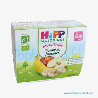 HIPP Organic Baby Food Apple & Banana 4/6M+ 4x100g (6)