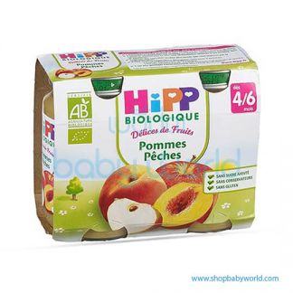 HIPP Organic Baby Food Apple Peach 4/6M+ 2x190g (12)