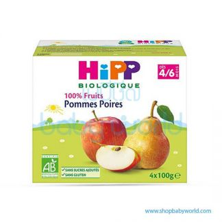 HIPP Organic Baby Food Apple & Pear 4/6M+ 4x100g (6)