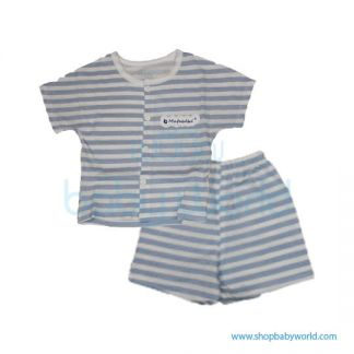 MafaBeBe Summer Short Sleeve Cloth Set Blue/White 90(1)