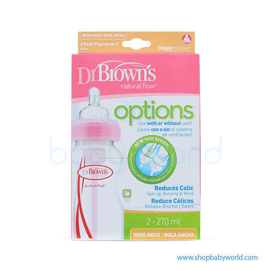 Dr Browns Options Wide Neck Bottle 270 ml, Pink, Pack of 2