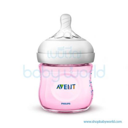 Philips AVENT: Natural PP 4oz 1 Feeding Bottle Pink, SCF691/13(6)