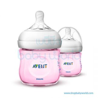 Philips AVENT: Natural PP 4oz 1 Feeding Bottle Pink, SCF691/23(6)
