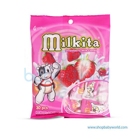 Milkita Strawberry Mild Candy Bag (20Bag x 90g). (20)