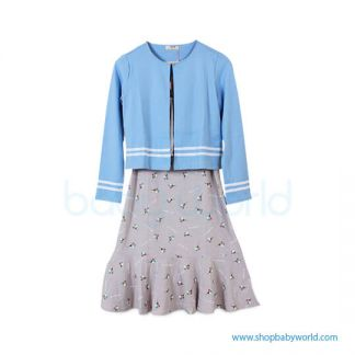 Bearsland blue wrap+floral dress AA078 L(1)