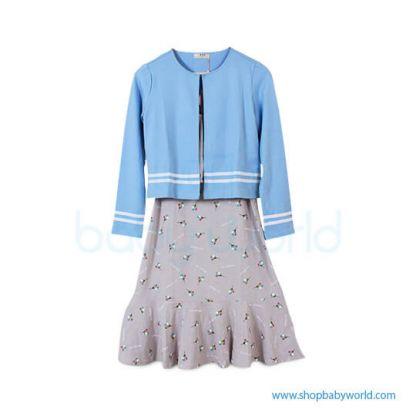 Bearsland blue wrap+floral dress AA078 L(1)