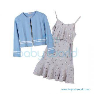 Bearsland blue wrap+floral dress AA078 M(1)