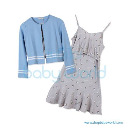 Bearsland blue wrap+floral dress AA078 M(1)