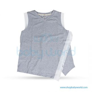 Bearsland gray cap sleeve tops BB087 M(1)