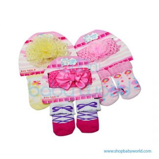 Haowei Baby Girl Hair Bow, Cap, Socks 2pcs HW16012-1(12)