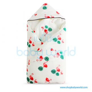 Muslin Tree Newborn Zipped Cuddle Towel Thick - Flamingo 100*100(1)