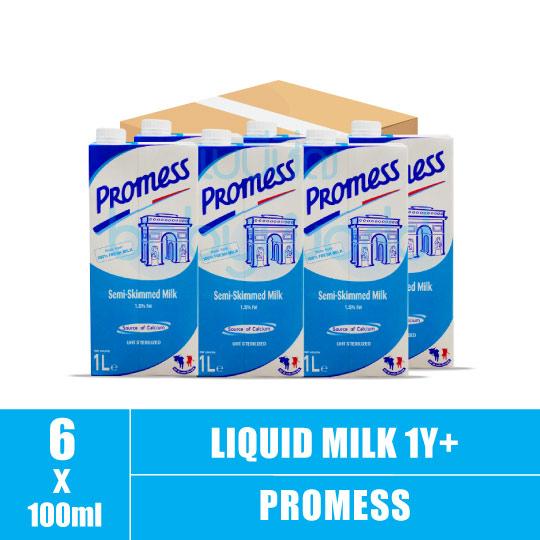 Promess Semi-Skimmed Milk 1L (6)(CTN)