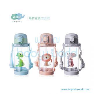 Diller plastic bottle 8842 (green, grey, pink) 350ml